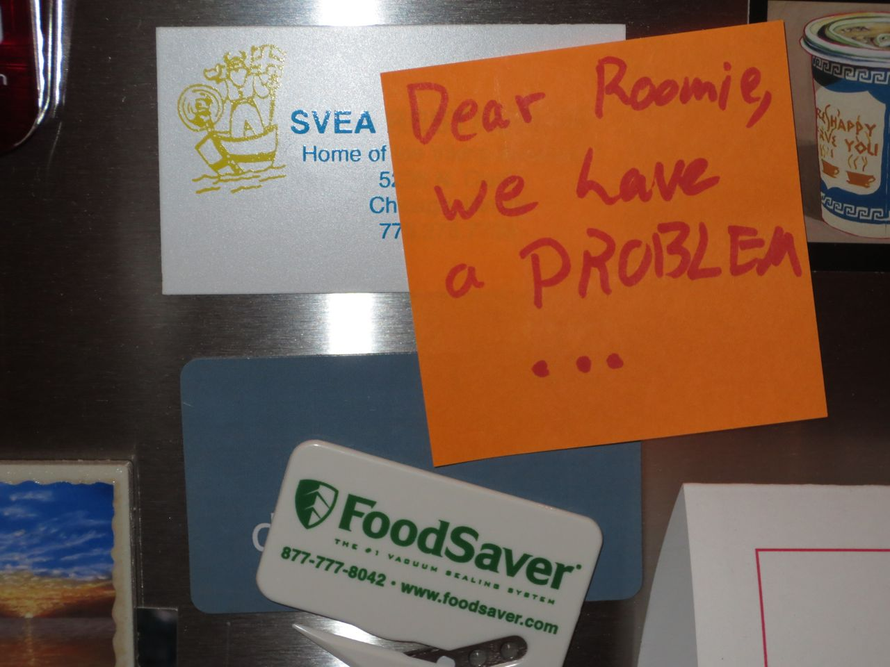 Mark Roemer image of a note left on the refrigerator by a roommate